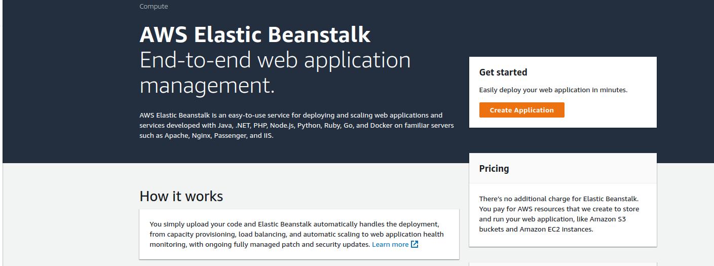 create aws elastic beanstalk app