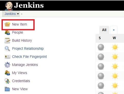Jenkins dashboard